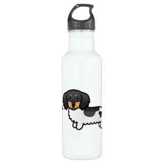 Black And Tan Piebald Long Coat Dachshund Dog 710 Ml Water Bottle