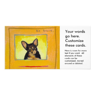 Black and tan small dog chihuahua minpin painting picture card