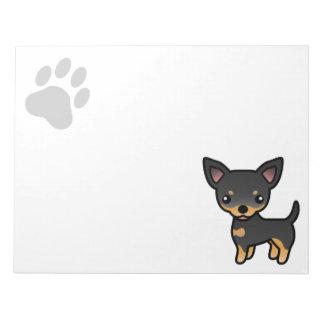 Black And Tan Smooth Coat Chihuahua Cartoon Dog Notepad