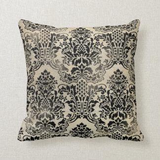 Black and tan textured damask Pillow. Throw Pillow