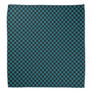 Black and Teal Blue Checkered Pattern Bandana