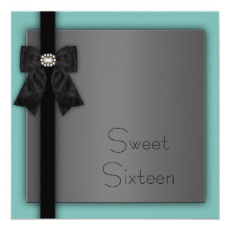"""Black and Teal Blue Sweet 16 Birthday Party 5.25"""" Square Invitation Card"""