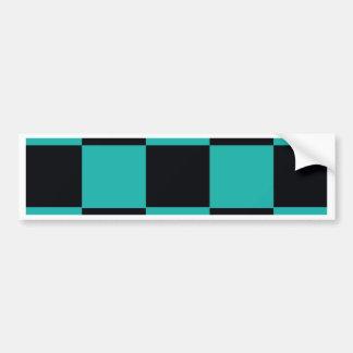 Black and Teal Checkerboard Bumper Sticker