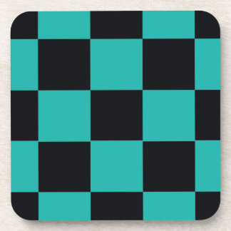 Black and Teal Checkerboard Coaster