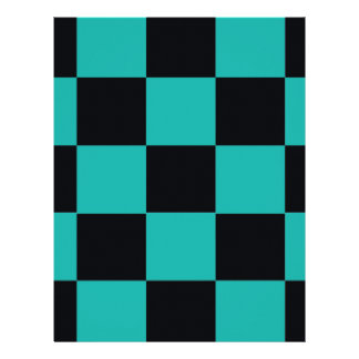 Black and Teal Checkerboard Letterhead