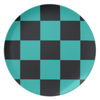 Black and Teal Checkerboard Plate