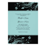 Black and Teal Floral Swirls Wedding Invitation