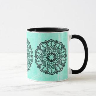 Black and Teal Mandala Coffee Mug