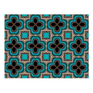 Black and teal Moroccan style geometric pattern Postcard