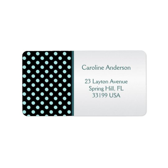Black and teal polka dots Address Avery Label