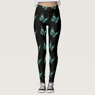 Black and Teal Pretty Butterfly Leggings