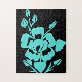 Black and Teal Rose Silhouette Jigsaw Puzzle