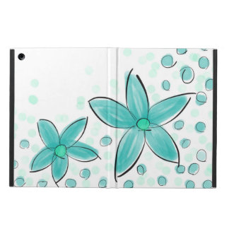 Black and Teal Watercolor Flower Polka Dot Sketch Case For iPad Air