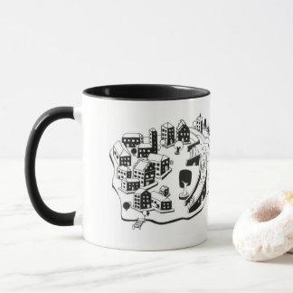 black and town center illustration white mug