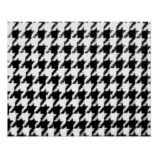 Black and Transparent Houndstooth Poster