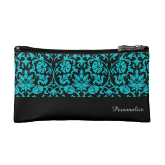 Black and Turquoise Damask Pattern | Personalize Cosmetics Bags