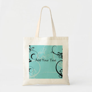 Black and Turquoise Floral Budget Tote Bag