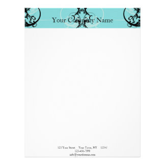 Black and Turquoise Floral Letterhead Template