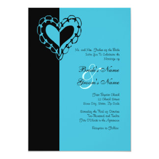 Black And Turquoise Heart Wedding Invitation