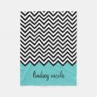 Black and Turquoise Modern Chevron Custom Monogram Fleece Blanket