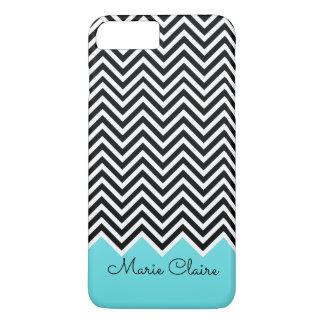 Black and Turquoise Modern Chevron Custom Monogram iPhone 8 Plus/7 Plus Case