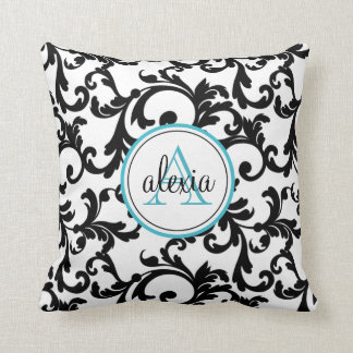 Black and Turquoise Monogrammed Damask Print Throw Pillow