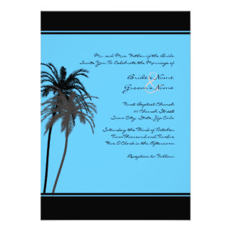 Black and Turquoise Tropical Palms Invitation