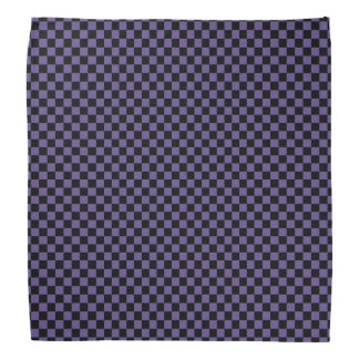 Black and Ultra Violet Purple Checkered Pattern Bandana