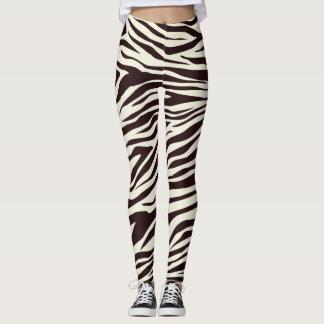 Black and Vanilla Wild Zebra Stripes Pattern Leggings