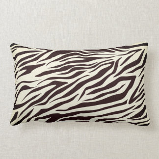 Black and Vanilla Wild Zebra Stripes Pattern Lumbar Pillow