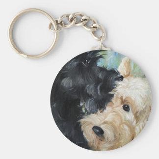 Black and wheaten Scottish terrier scottie art Basic Round Button Keychain
