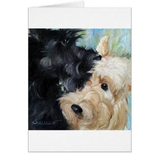 Black and wheaten Scottish terrier scottie art Card