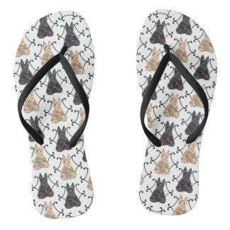 Black and Wheaten Scottish Terriers Flip Flops