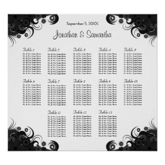 Black and White 13 Wedding Tables Seating Charts Poster