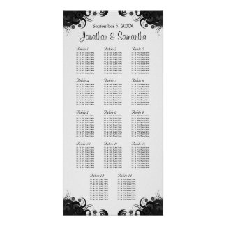 Black and White 14 Wedding Tables Seating Charts Poster