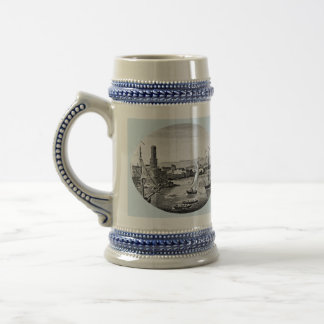 Black and White 1888 Old Port Royal Jamaica Beer Stein