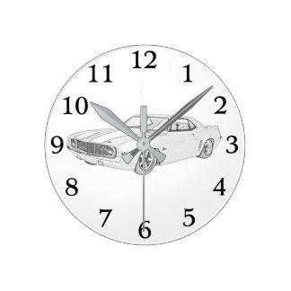 Black and White 1969 Chevy Camaro Rendering Round Clock