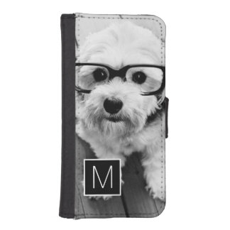 Black and White 1 Photo Collage Custom Monogram Phone Wallet Cases