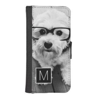 Black and White 1 Photo Collage Custom Monogram Phone Wallet Cases