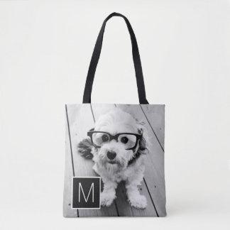 Black and White 1 Photo Collage Custom Monogram Tote Bag