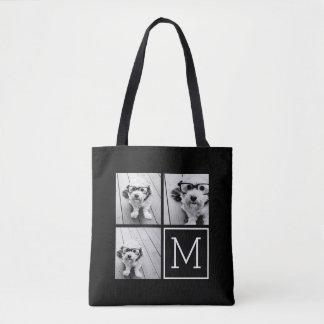 Black and White 3 Photo Collage Custom Monogram Tote Bag