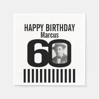 Black and white 60th birthday stripe photo napkins disposable napkin