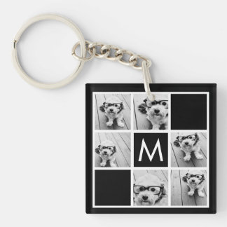 Black and White 6 Photo Collage Custom Monogram Keychain