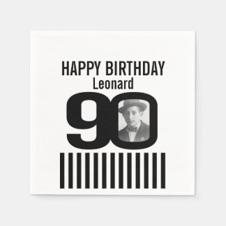 Black and white 90th birthday stripe photo napkins paper napkins
