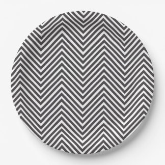 Black and White Abstract Chevron Pattern Paper Plate