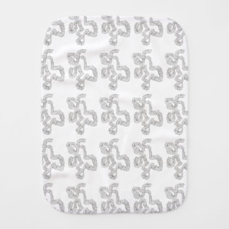 Black And White Abstract Coil -  Ink Drawing Burp Cloth