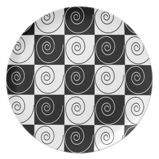 Black and White Abstract Dinner Plates