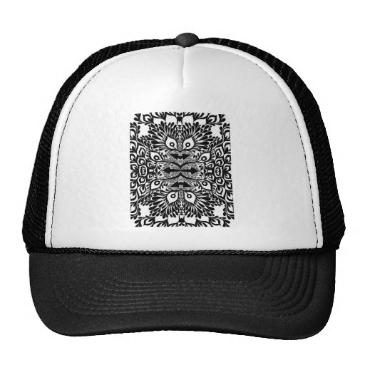 Black And White Abstract Explosion Mesh Hat