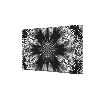 Black and White Abstract Flower Design Canvas Print
