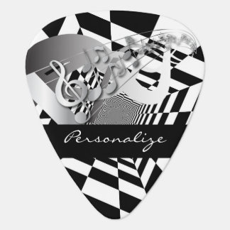 Black and White Abstract Geometric | Personalize Guitar Pick